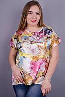 Гала. Женская блузка больших размеров. Цветок.