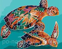Игра Картины по номерам (KH2455) Радужные черепахи 40х50 см