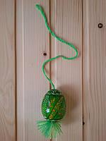 Деревянные пасхальные яйца 60х45 на подвеске, подпоясанные, светло-зеленые