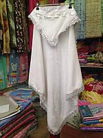 Крестильное полотенце плед  для крещения с капюшоном