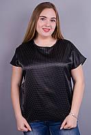 Гала. Женская блузка больших размеров. Черный+белый горох.