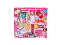 Игровой набор доктора, кукла 28см, очки, стетоскоп, медицинские инструменты, T2083-1