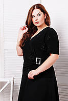 Блуза однотонная  со стразами ЛЮБАВА черная