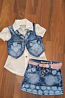 Летний джинсовый костюм с блузочкой для девочек,Размеры 98-128 см.Фирма GRACE.Венгрия
