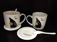 Подарочный набор Солнце-Кот 2 чашки, крышки, ложки.