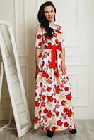 Красивое белое платье в пол с поясом и красными цветами