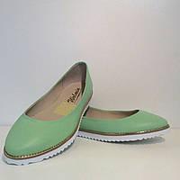 Балетки женские стильные натуральная кожа зеленого цвета
