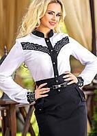 Белая Блуза с черной планкой и ажурной перфорацией на груди и манжетах