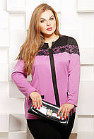 Блуза с отделкой из гипюра АСЯ сиреневая р.52,54