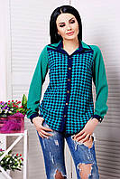 Весенняя блуза с отложным двойным(двухцветным) воротником.Изделие с застежкой до линии низа .Разные цвета