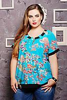 Блуза с оригинальной спинкой КАТРИН бирюзовая