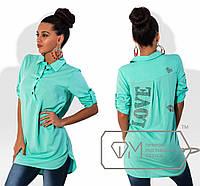 Красивая блуза из штапеля со стразами на спинке (разные цвета)