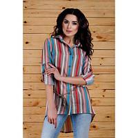 Женская рубашка асимметрия в разноцветные полосы