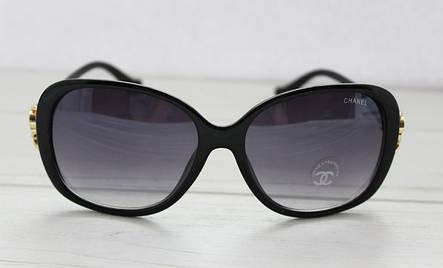 Легкие нежные прямоугольные женские очки от солнца в черном цвете, фото 2