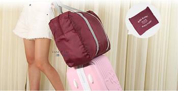 Сумка дорожня складана на валізу (бордова)