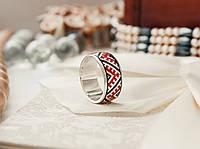 Обручальное кольцо вышиванка серебро 925