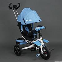 Трехколесный велосипед-коляска, поворотное сиденье 6595, Голубой ***