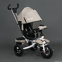 Трехколесный велосипед-коляска, поворотное сиденье 6595, Бежевый ***