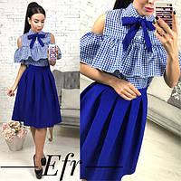 Блуза коттоновая с воланом на груди и вырезами на плечах (5 цветов)