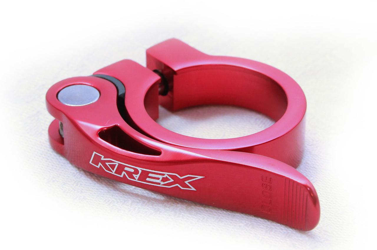 Зажим для подседела KREX 34.9 мм, на эксцентрике, красный