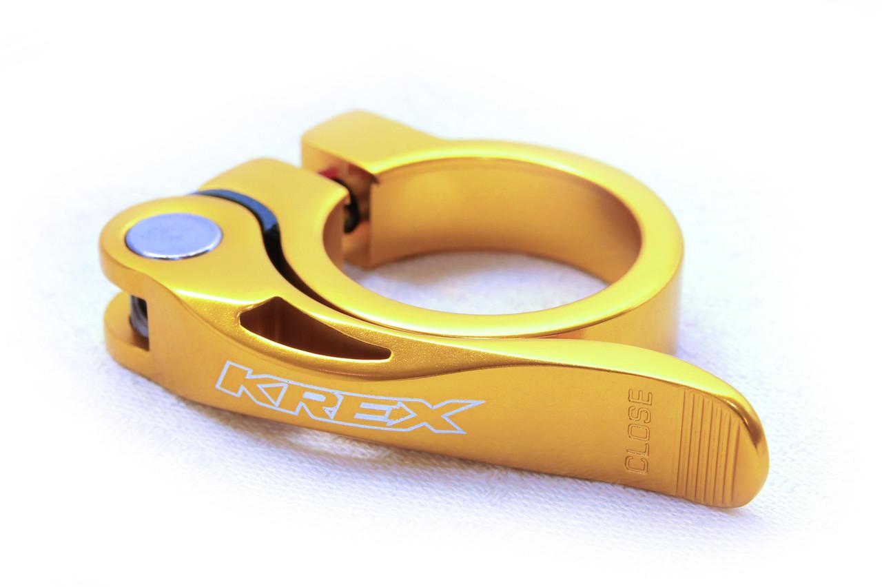 Зажим для подседела KREX 31.8 мм, на эксцентрике, золотой