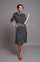 Платье шифоновое в горох черный, фото 1