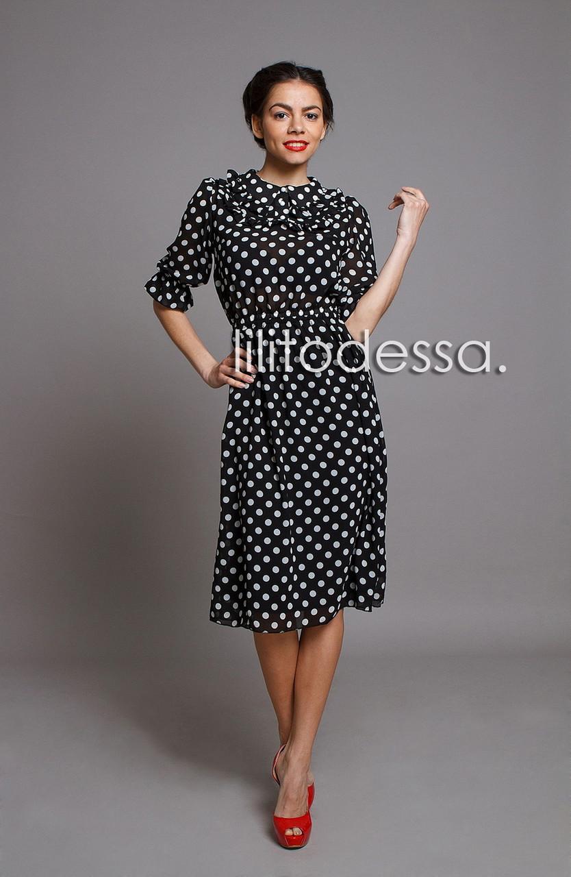 Платье шифоновое в горох черный - LILIT ODESSA - женская одежда - опт -  розница в 70d1d22e175