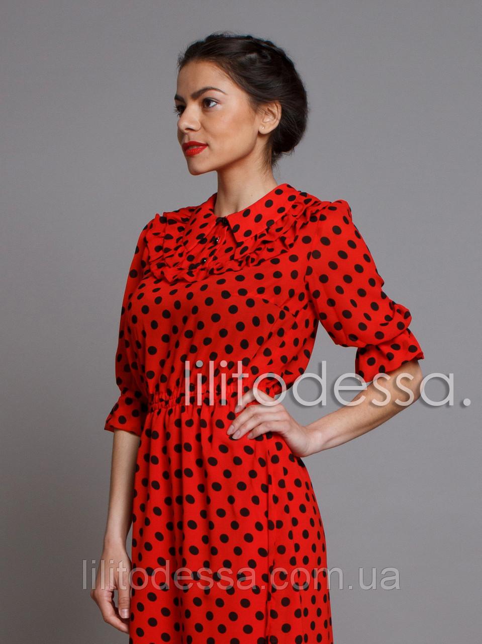 d77c6bf28f1 Платье шифоновое в горох черный  продажа