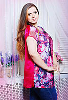 Блуза атласная с сеткой принт цветы АЛЕКС розовая (52-62)