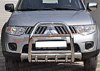 Защита переднего бампера кенгурятник из нержавейки на Mitsubishi L200 2012-2015