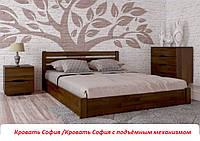 Кровать двуспальная София (Бук) с подъёмным механизмом 180х190