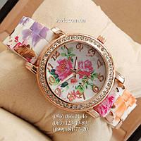 Женские наручные часы Geneva Pink flowers/Gold