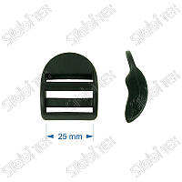 Пряжка пластиковая трёхщелевая 25мм чёрная(1000шт.)
