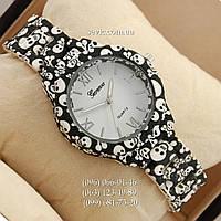 Женские наручные часы Geneva Platinum Black-skull/White