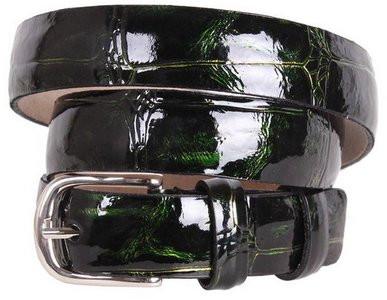Необычный женский узкий ремень из натуральной кожи 49206 темно-зеленый ДхШ: 115х2,5 см.