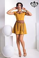 Стильное замшевое горчичное женское платье Босфор Luzana 42-50 размеры