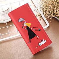 Кошелек женский  fashion «Девочка» бордовый, фото 1