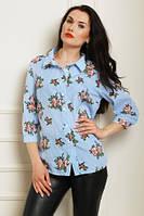 Модная рубашка в полоску с цветами, голубого цвета, увеличенных размеров