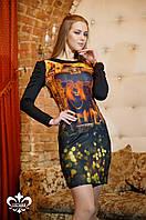 Трикотажное женское платье с принтом Леонарда Luzana 44-52 размеры