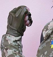 Перчатки тактические кожаные, цвет олива, фото 1