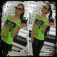 Женская футболка для фитнеса с принтом, разорванная, грудь, зеленая
