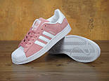 Кроссовки Adidas Superstar 1 Pink White Snake. Живое фото. Топ качество! (Реплика ААА+), фото 4