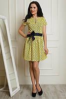 Молодежное платье с пышной юбкой желтого цвета в горох