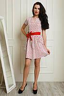 Молодежное платье в белом цвете пышная юбка в красный горох