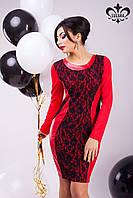 Трикотажное красное платье Динара Luzana 42-48 размеры