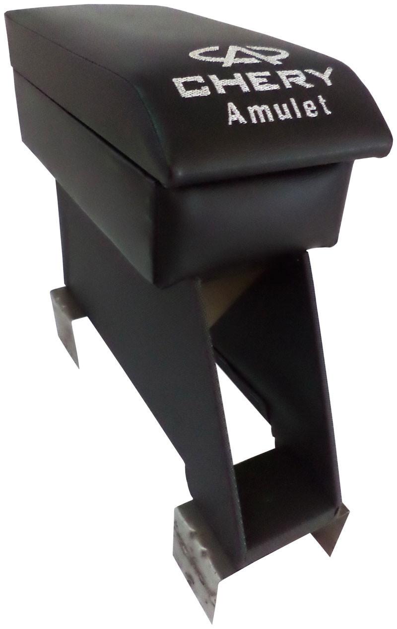 Подлокотник Chery Amulet (Чери Амулет) черный с вышивкой