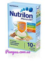 Молочная каша Nutrilon 4 злака с рисовыми шариками, 225 г