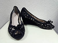 Кожаные туфли летние на танкетке NAPOLEONI, 39р.