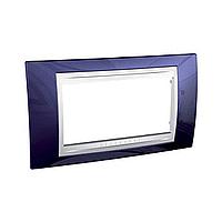 Рамка 4-модульная Schneider Unica Plus, цвет: Индиго/Белый