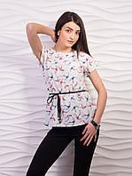 Красивая женская блуза из креп-шифона с принтом